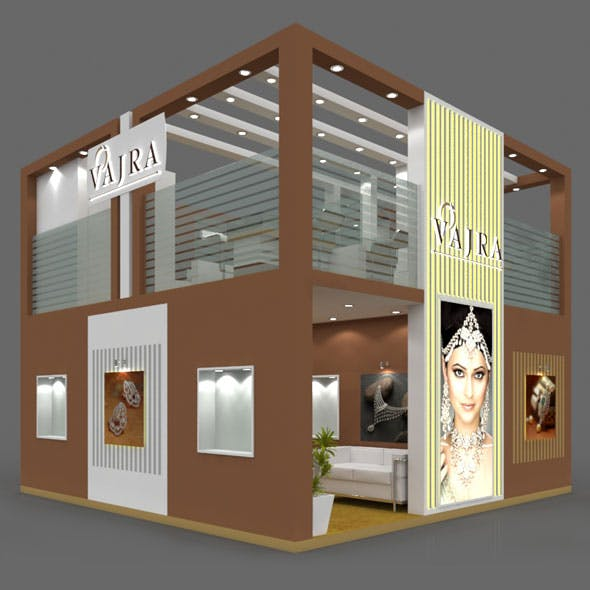 Exhibition Booth 3D Model - 6x6 mtr