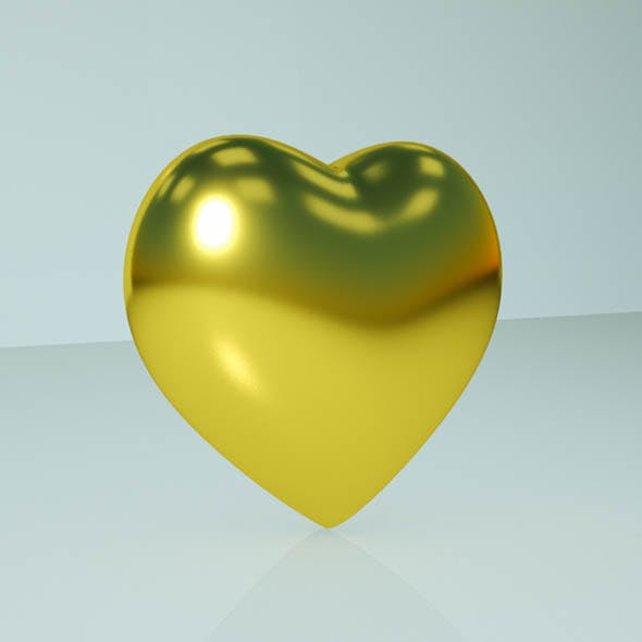 Gold heart - 3DOcean Item for Sale