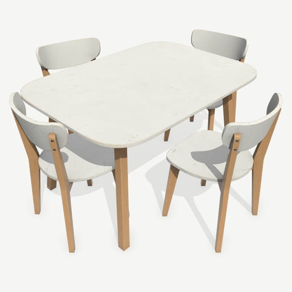 Old Dining Table and Chair - 3DOcean Item for Sale