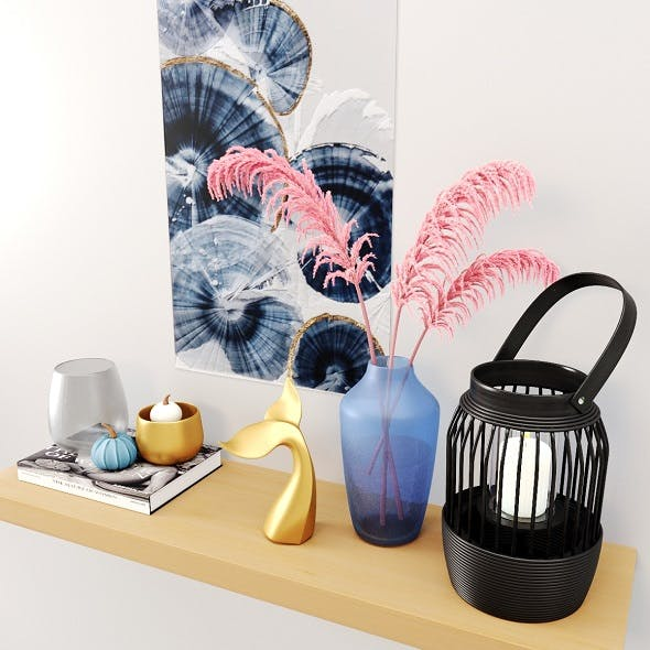 Decor Set-No4- By Gray Glass And blue Vase - 3DOcean Item for Sale