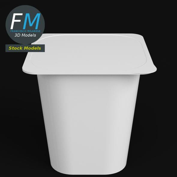 Yogurt square cup closed - 3DOcean Item for Sale