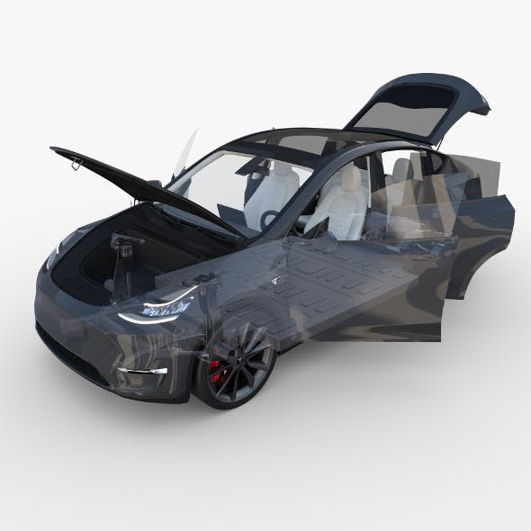 Tesla Model Y RWD Midnight Silver with interior and chassis