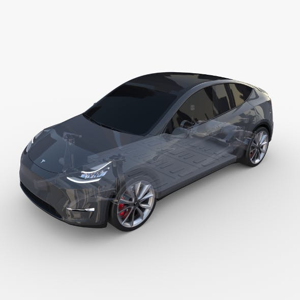 Tesla Model Y RWD Midnight Silver with chassis