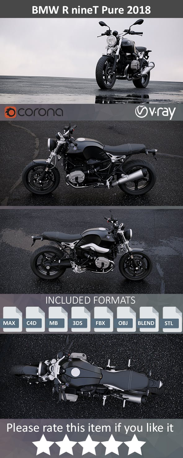 BMW R Nine Pure 2018 - 3DOcean Item for Sale