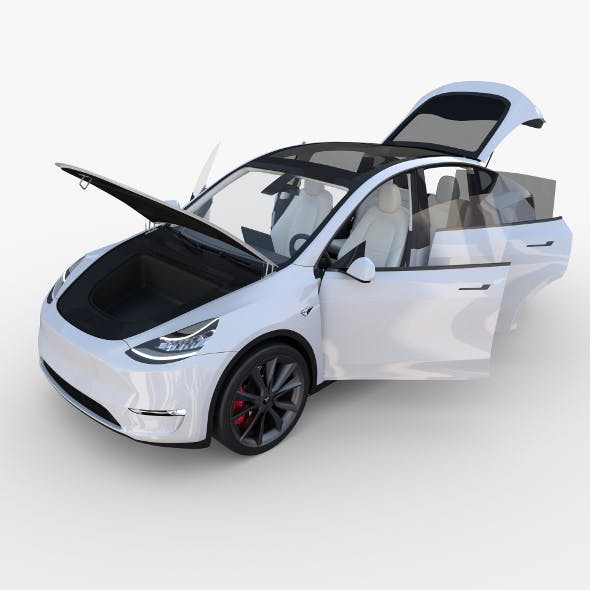 Tesla Model Y White with interior - 3DOcean Item for Sale