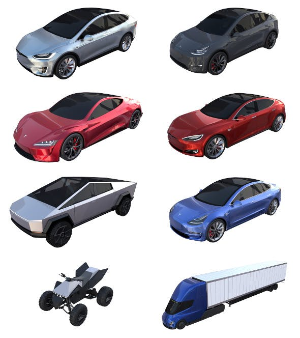 Full Tesla 2020 Vehicle Lineup - 3DOcean Item for Sale
