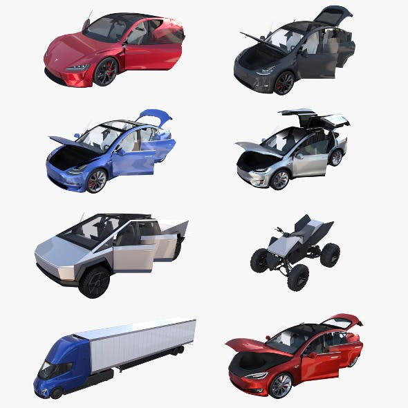 Full Tesla 2020 Vehicle Lineup with interiors - 3DOcean Item for Sale