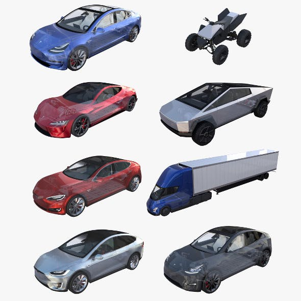 Full Tesla 2020 Vehicle Lineup with interiors and chassis - 3DOcean Item for Sale