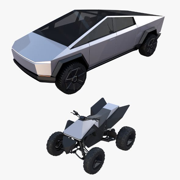 Tesla Cybertruck and Cyberquad Pack - 3DOcean Item for Sale
