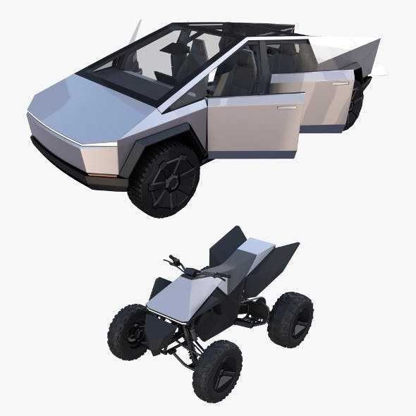 Tesla Cybertruck and Cyberquad Pack with interior - 3DOcean Item for Sale