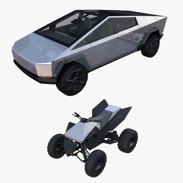 Tesla Cybertruck and Cyberquad Pack with interior and chassis - 3DOcean Item for Sale