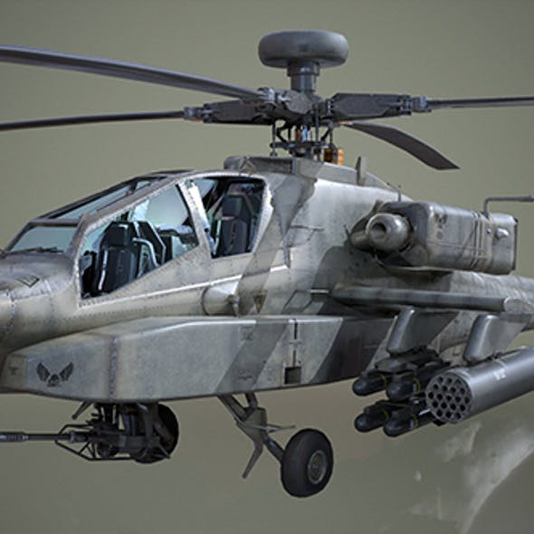 AH-64D Apache Longbow Helicopter - Low Poly
