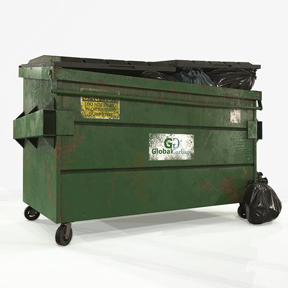 Dumpster with Garbage Bags - Low Poly