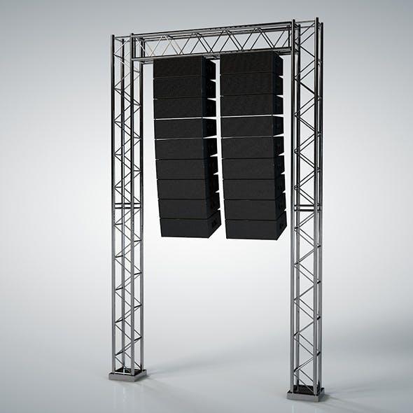 Line Array Concert Sound Speaker System Scaffolding with Truss 3D model - 3DOcean Item for Sale