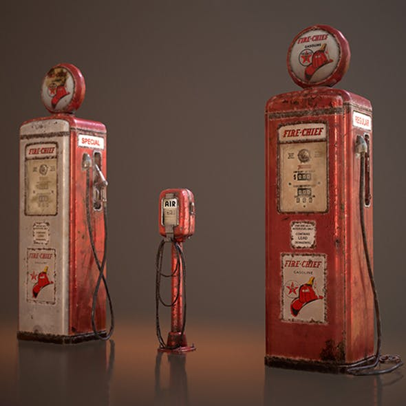Old Gas And Air Pumps - Low Poly - 3DOcean Item for Sale
