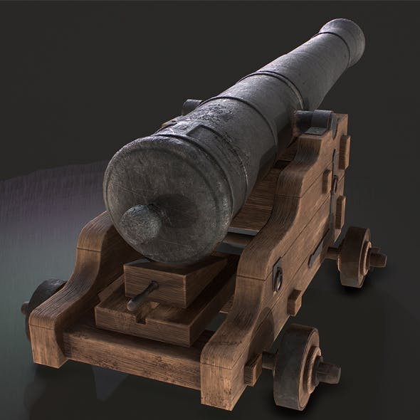 Old Iron Naval Cannon - Low Poly