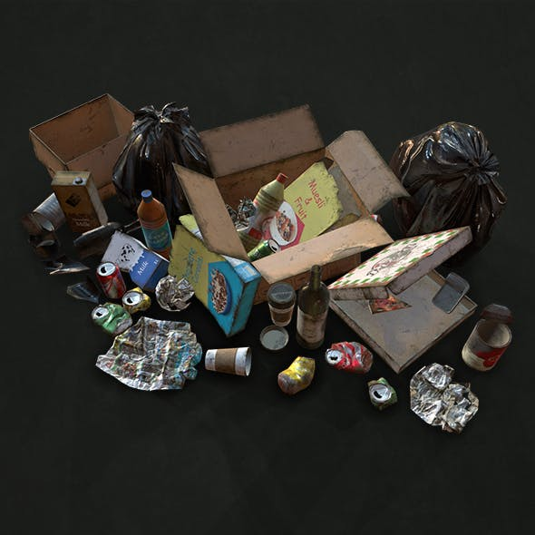 Urban Trash & Garbage Bags - Low Poly