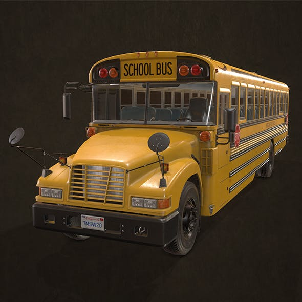 School Bus - Low Poly