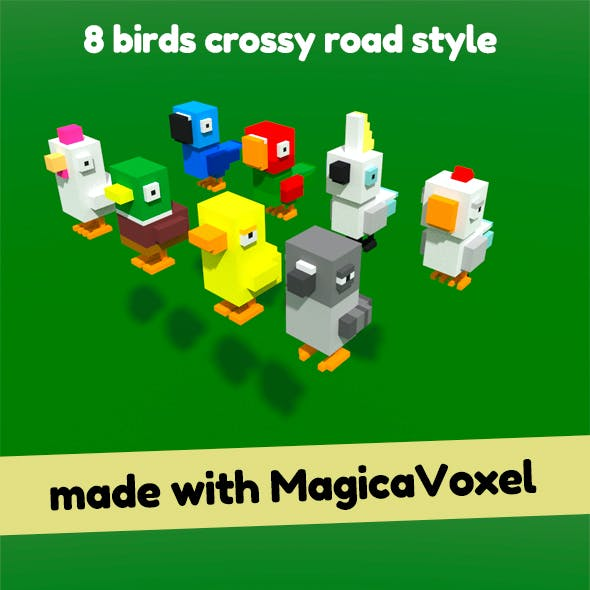 8 Low-poly Voxel Birds Crossy Road Style