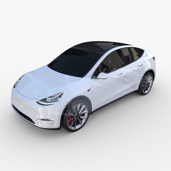Tesla Model Y AWD White with chassis - 3DOcean Item for Sale