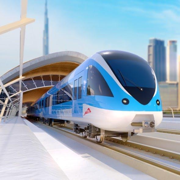 Dubai Metro stations with train