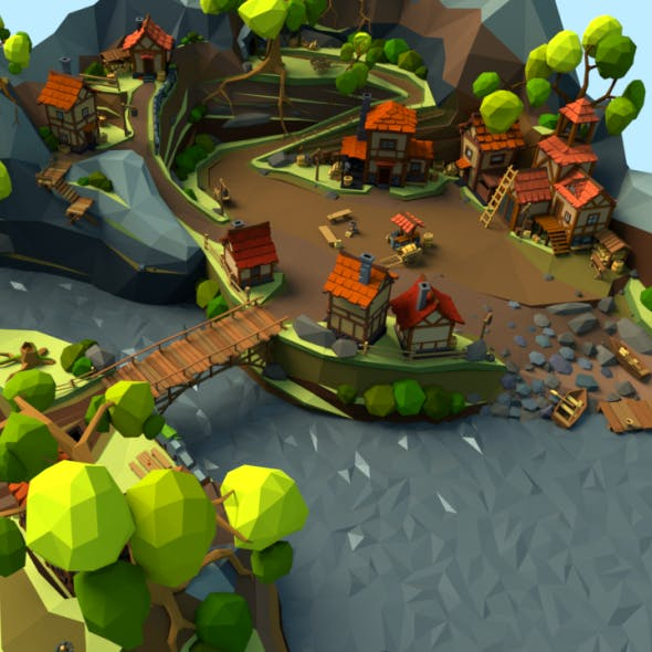Medieval Village Low-poly - 3DOcean Item for Sale