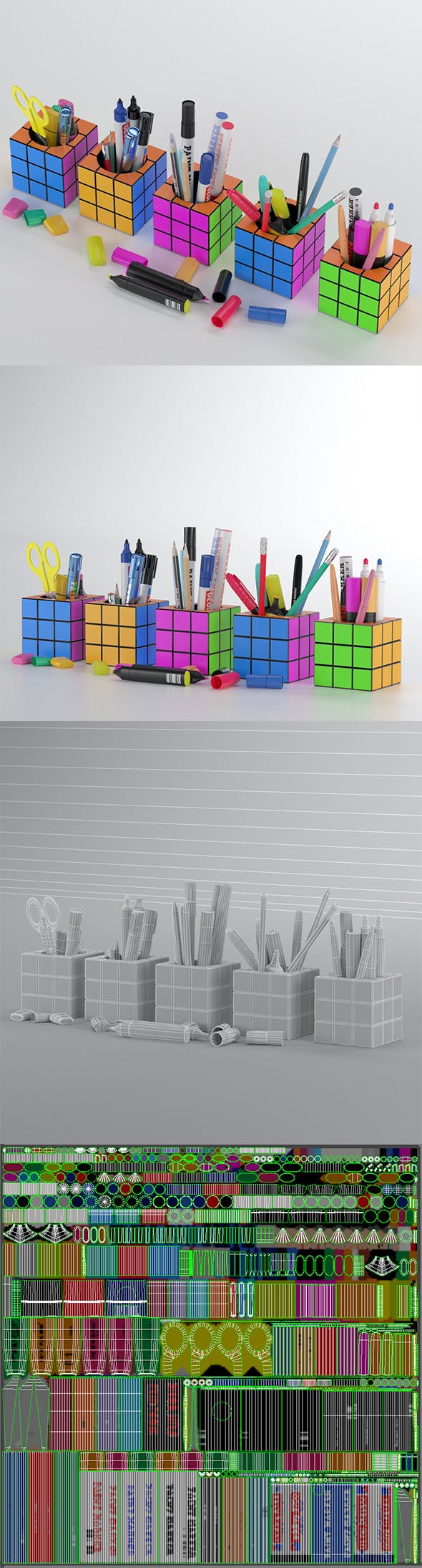 Stationery set in cubes - 3DOcean Item for Sale