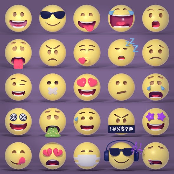 Emoticons - Emoji -Smiley Pack - 3DOcean Item for Sale