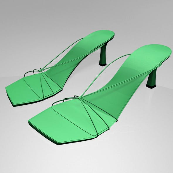 Strappy Spool-Heel Sandals 01 - 3DOcean Item for Sale