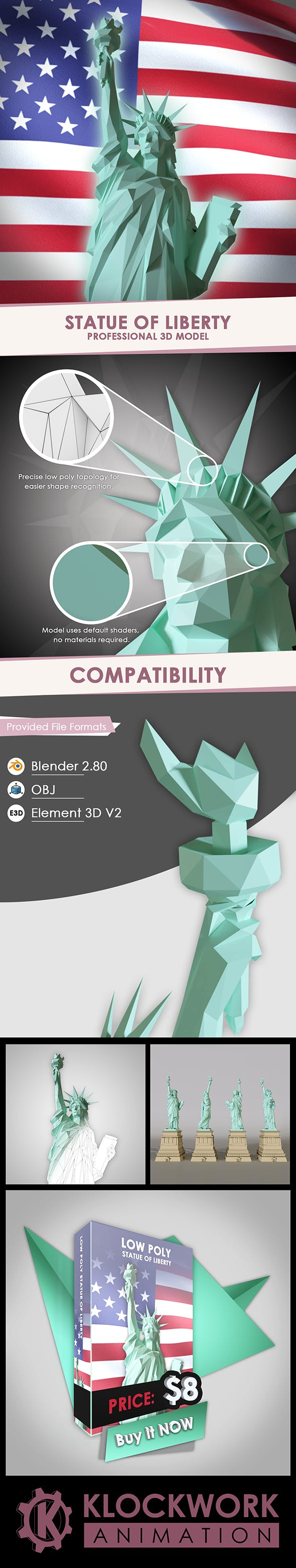 low poly statue of liberty - 3DOcean Item for Sale