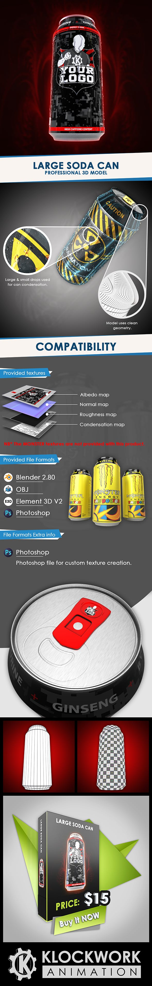 Large soda/ energy drink can - 3DOcean Item for Sale