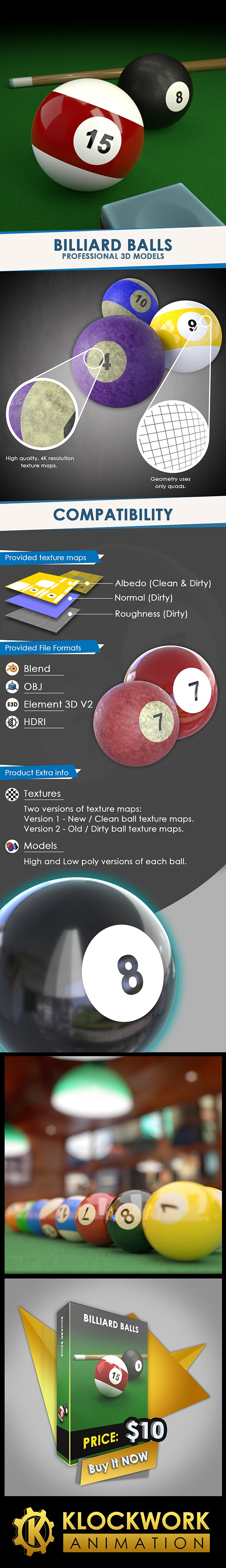 Billiard Balls - 3DOcean Item for Sale