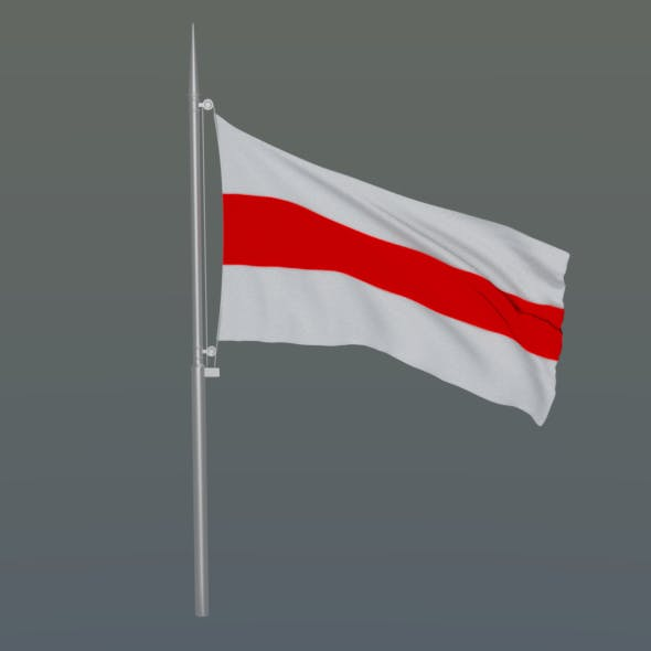 The flag of Belarus with flagpole