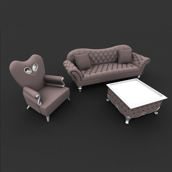 Sofa, chair and coffee table set - 3DOcean Item for Sale