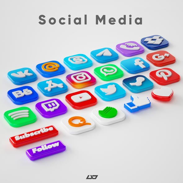 3d social media app icons pack