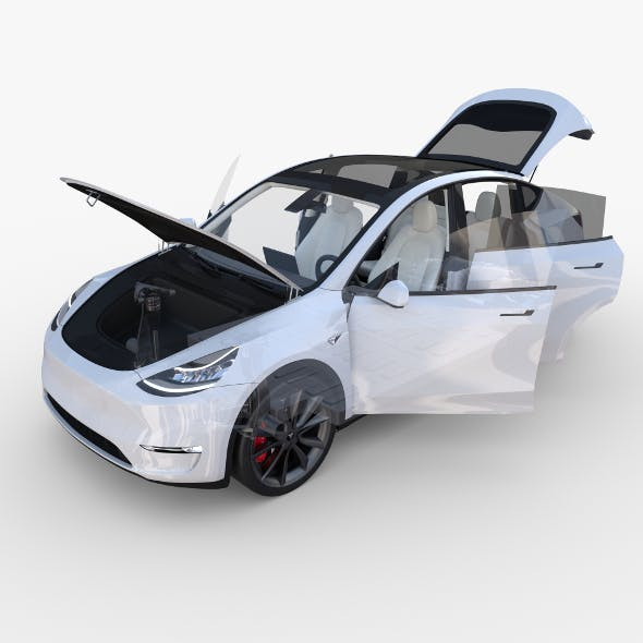 Tesla Model Y RWD White with interior and chassis
