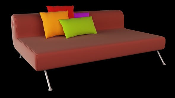 Interior 3D Sofa And Pillows - 3DOcean Item for Sale