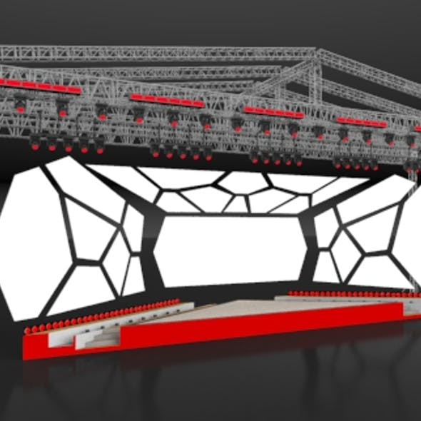 Mapping stage with truss system and lights