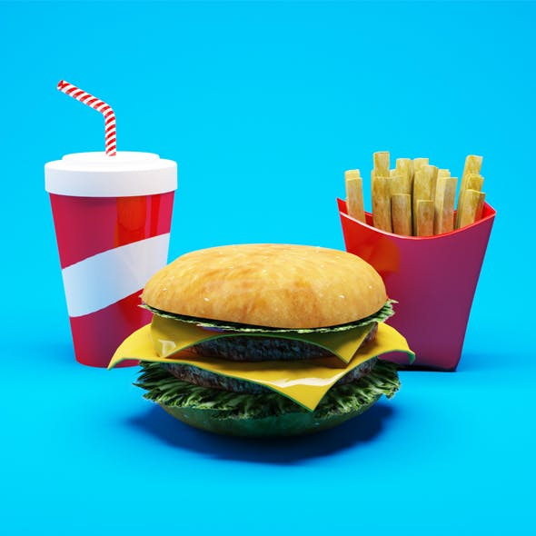 Realistic Hamburger with french fries and drink