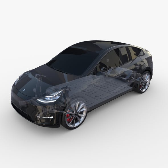 Tesla Model Y AWD Black with chassis - 3DOcean Item for Sale