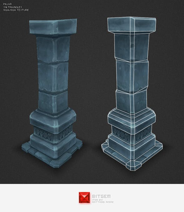 Low Poly Dungeon Pillar - 3DOcean Item for Sale