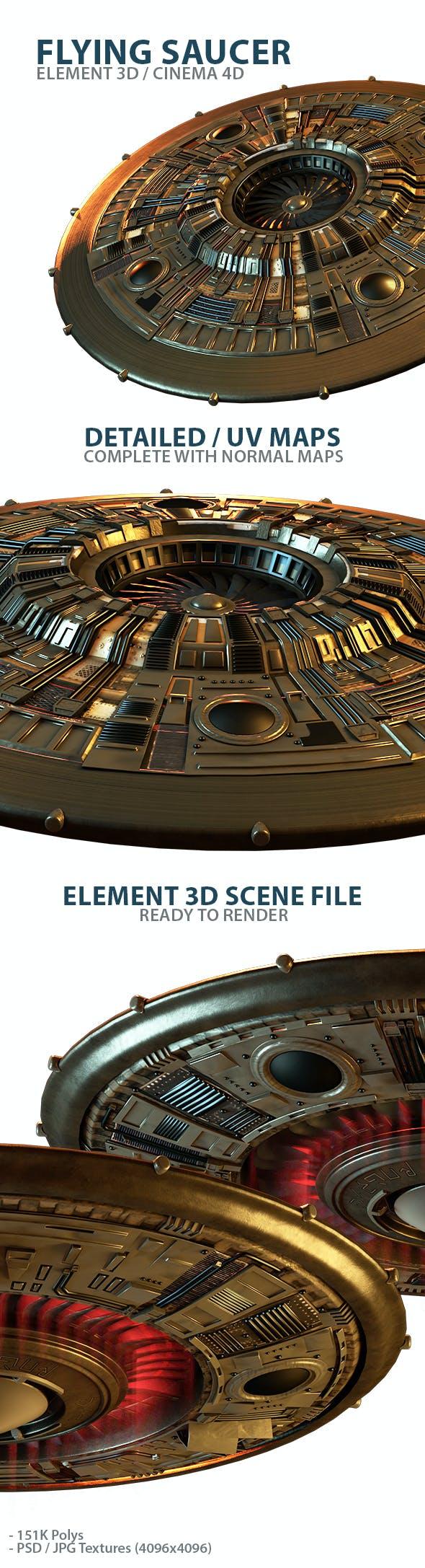 UFO Flying Saucer 3D Model for Element 3D & Cinema 4D - 3DOcean Item for Sale