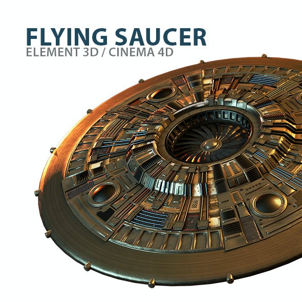 UFO Flying Saucer 3D Model for Element 3D & Cinema 4D