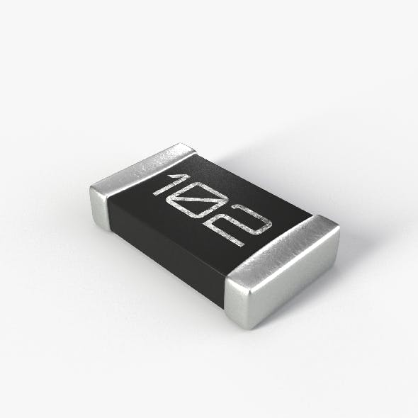 SMD Resistor type 2 PBR model with 2K textures