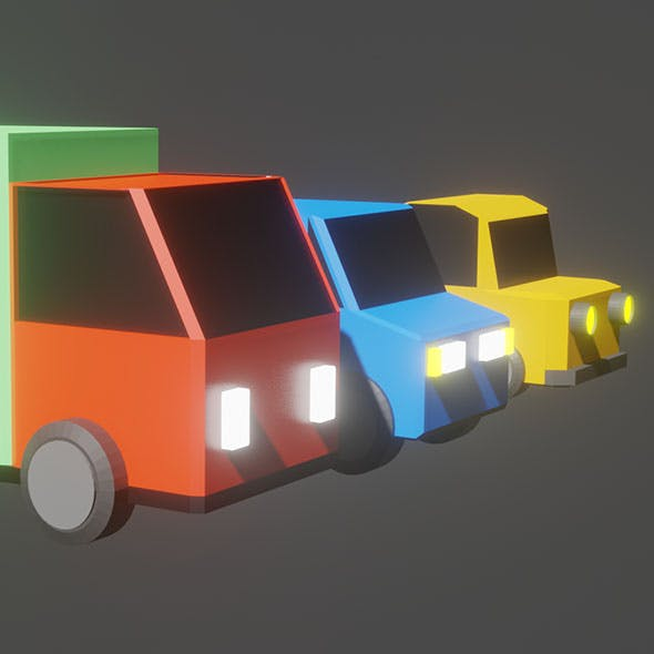 3 Low Poly Vehicles Pack