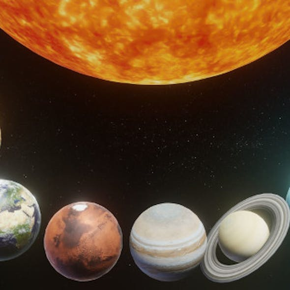 Photorealistic Solar System 3D Model Low-poly 3D model