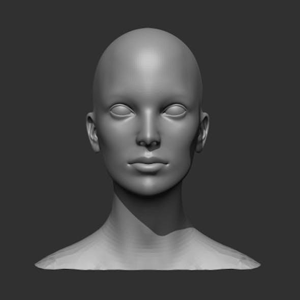Female Head Realistic Base Mesh 3D Model