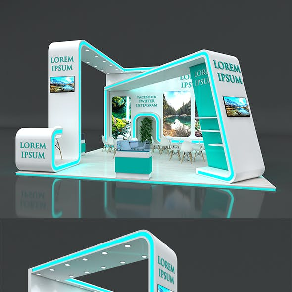 3d Booth Exhibition Stand Stall 7x7m Height 450 cm 3 Side Open 3D model