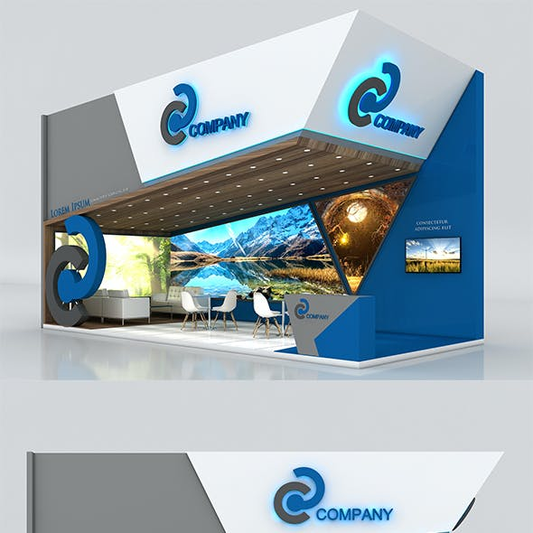 Booth Exhibition Stand Stall 9x4m Height 500 cm 2 Side Open 3D model