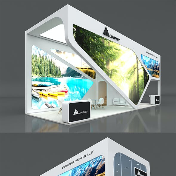 Exhibition Booth Stand Stall 12x4m Height 500 cm 3 Side Open 3D model